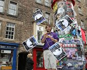 EDINBURGH- AUGUST 16: Member of BEDS publicize their show Don Quixote during  Edinburgh Fringe Festival on August 16, 2014 in Edinburgh Scotland