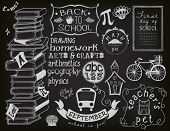 Back to School Chalkboard - Blackboard with school related objects and symbols, including books, teacher's pet, school bus, cartoon school building, apple, bike and different frames and swirls