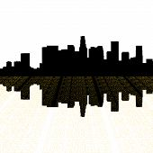 Los Angeles Skyline With Perspective Text Outline
