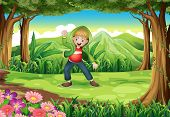 Illustration of a jungle with a boy dancing