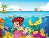 Illustration of a smiling mermaid under the sea