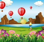 Illustration of a girl watching the floating balloons