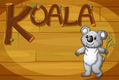 Illustration of a wooden frame with a koala