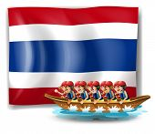 Illustration of a boat with men near the flag of Thailand on a white background
