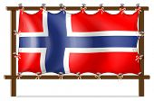 Illustration of a frame with the flag of Norway on a white background