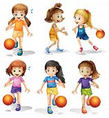 Illustration of the little female basketball players on a white background