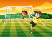 Illustration of a girl kicking the ball with the flag of Germany