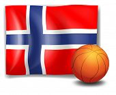 Illustration of the flag of Norway at the back of the ball on a white background
