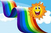 Illustration of a cheerful sun near the rainbow