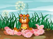 Illustration of a cute bear with pink flowers