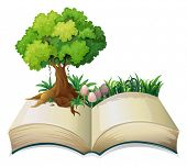 Illustration of an open book with a tree on a white background