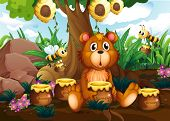 Illustration of a cute bear under the tree with bees and pots of honey