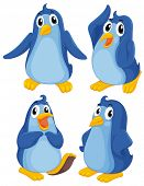 Illustration of the four blue penguins on a white background