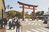 Tourists visit kamakura temple, japan
