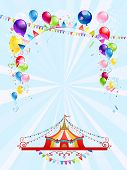 Circus poster with balloons. Raster version.