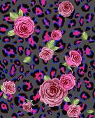 Leopard skin and rose seamless pattern. Repeating  background. Raster version