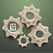 Vector Realistic Clay Cogwheels.
