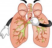 Mascot Illustration Featuring a Pair of Lungs Trying to Cough Out Pleghm