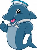 Mascot Illustration Featuring a Dolphin Sailor Giving a Thumbs Up