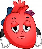 Mascot Illustration Featuring a Sad Worn Out Heart