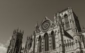 Sepia toned view of York Minster taken on summer day
