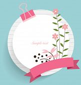 Note paper with ribbon, heart and floral bouquets, vector illustration.