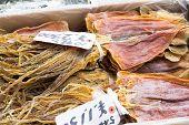 japanese seafood dry squid at Tsukiji Fish Market, Tokyo