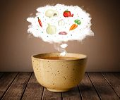Bowl of soup with vegetable ingredients illustration in cloud on wood deck