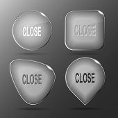 Close. Glass buttons. illustration.