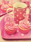 Pink Ribbon Day Cupcakes with Coffee with Retro Filter
