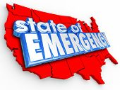 State of Emergency 3d words on United States of America map to illustrate a national crisis or disas