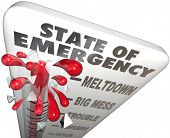 State of Emergency words on a 3d thermometer measuring the high level of crisis, urgent problem or t