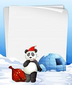 Illustration of a banner with panda and igloo