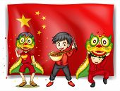 Illustration of a flag of china and people