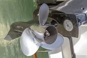 image of outboard engine  - Boat propeller close - JPG