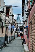 Old street in Shanghai with residential buildings