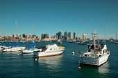 San Diego downtown with boat in bay