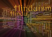 Hinduism Word Cloud Glowing