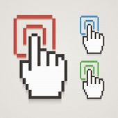 Pixel Hand Cursor With Touching.
