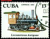 Vintage  Postage Stamp.  Antique  Locomotive 2-4-0.