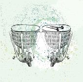 picture of timpani  - hand drawn timpani on a light background - JPG