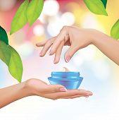 Woman Hands Holding Cream Jar