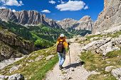 Dolomiti - Hiker In Badia Valley