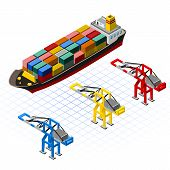 Isometric Ship with Cranes Vector Illustration