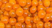 Orange Candy Made Like Fruit In City Market