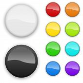 Blank color badges template isolated on white background.