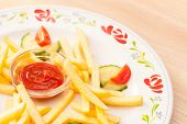 French fries potatoes with ketchup