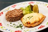 schnitzel with buckwheat