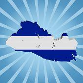 El Salvador map flag on blue sunburst illustration