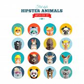 Flat Style Hipster Animals Avatar Vector Icon Set for Social Media or Web Site
